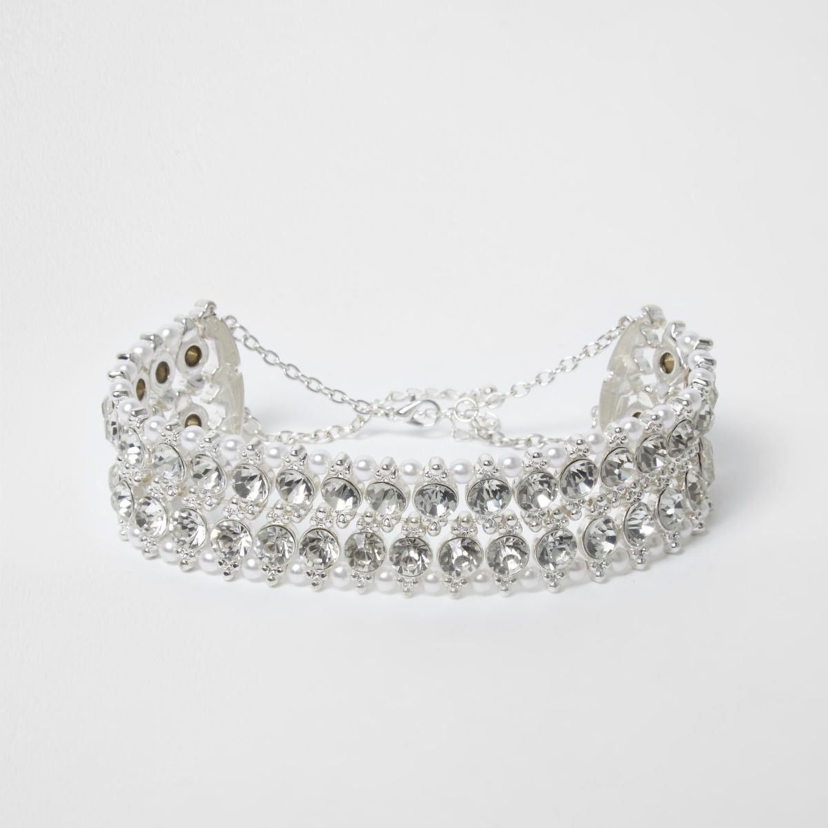 Silver tone jewel and faux pearl choker