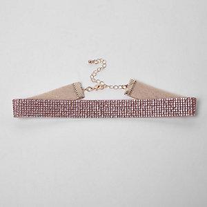 Collier ras-de-cou rose clair à strass thermocollés
