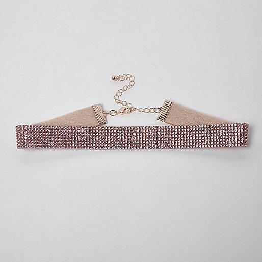 Light pink heatseal rhinestone choker