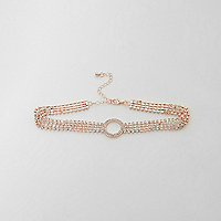 Rose gold cup chain pave circle detail choker