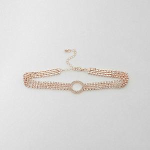 Collier ras-de-cou or rose avec cercle pavé
