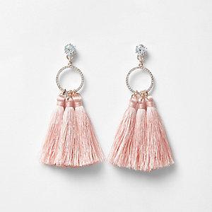 Light pink tassel drop hoop diamante earrings