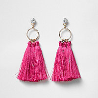 Cubic zirconia pink tassel drop earrings