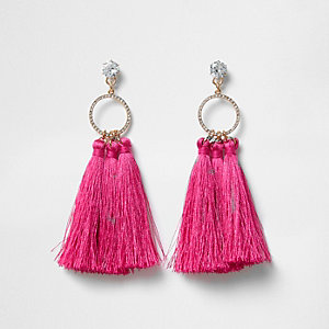 Cubic zirconia pink tassel drop earrings