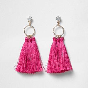 Pink tassel drop hoop diamante earring