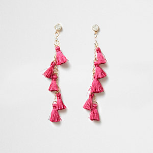 Pink multi tassel drop earrings