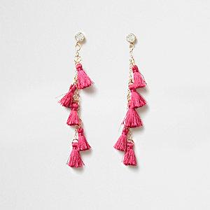 Pendants d'oreilles roses à pampilles multicolores