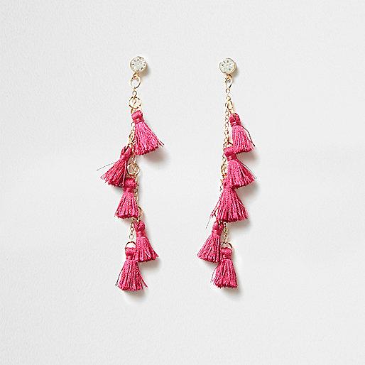 Pink multi tassel drop earrings