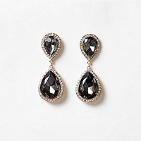 Grey jewel drop earrings