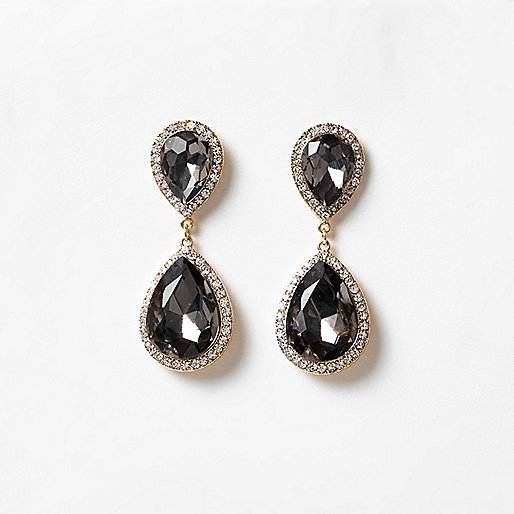 Grey jewel drop earrings