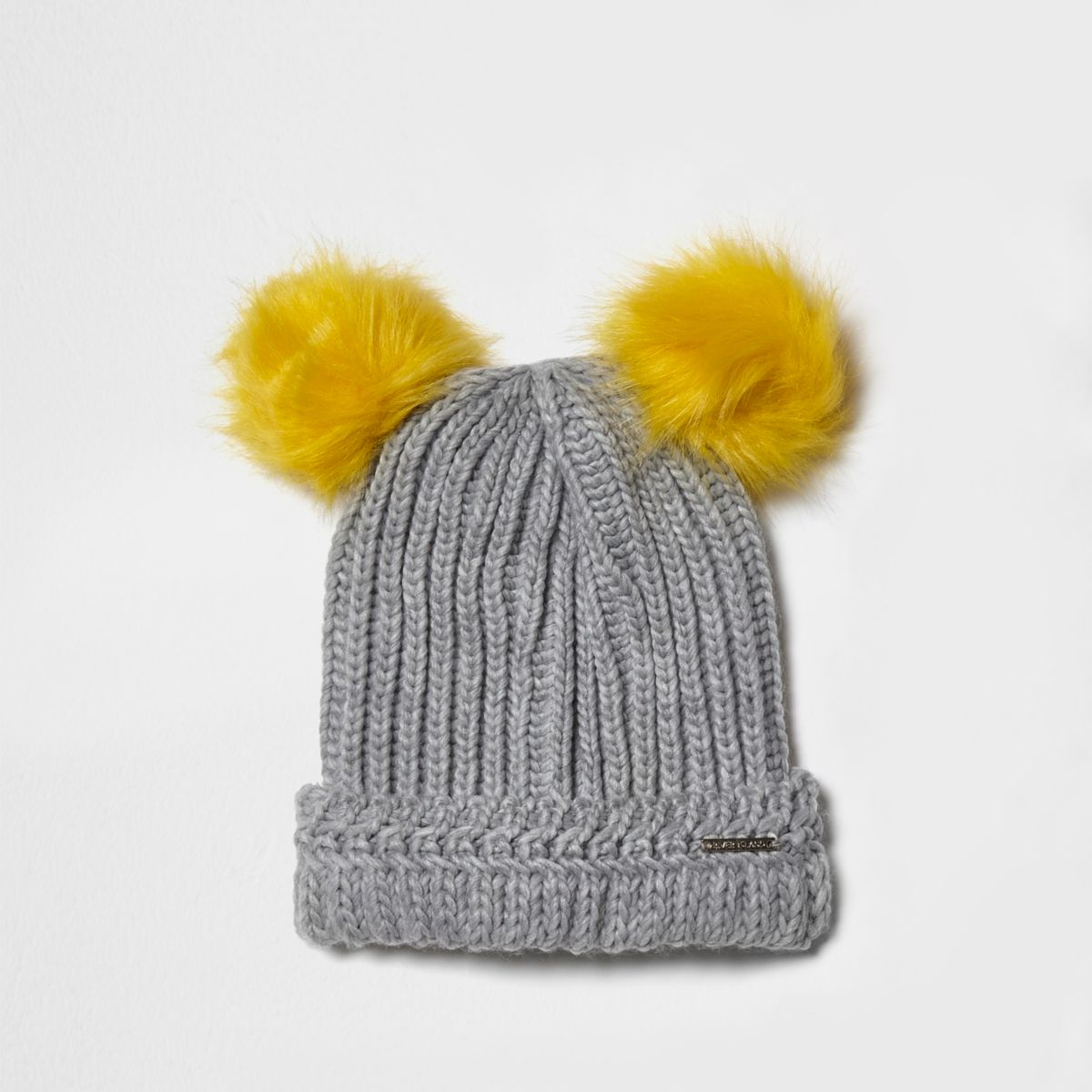 Light grey knit pom pom ear beanie hat