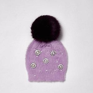 Purple brooch faux fur bobble beanie hat