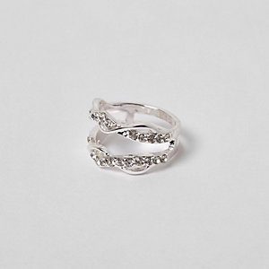 Silver tone rhinestone encrusted twist ring