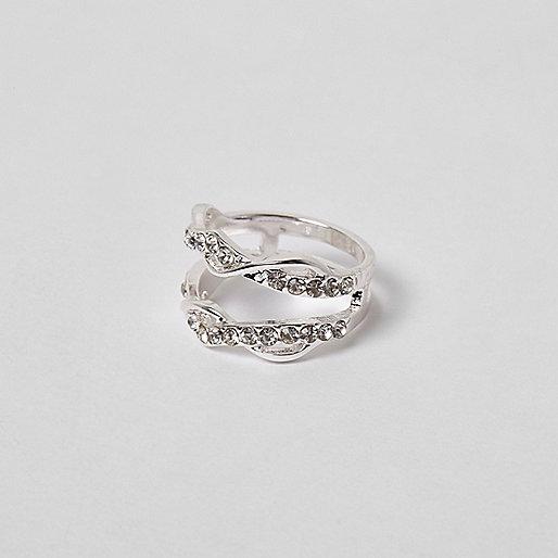 Silver tone rhinestone encrusted twist ring