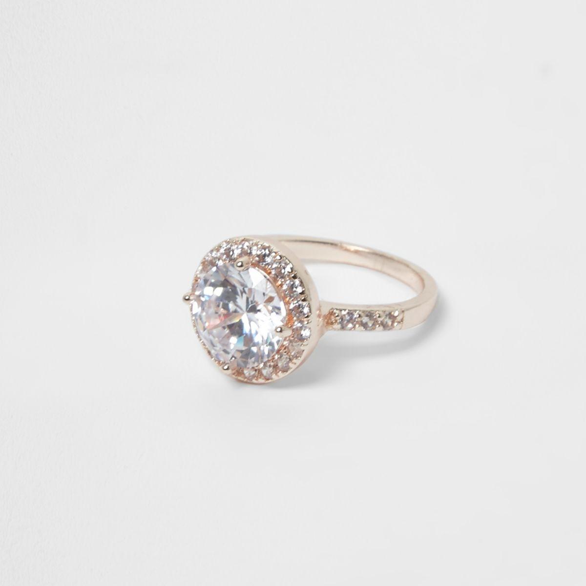 Rose gold tone rhinestone encrusted ring