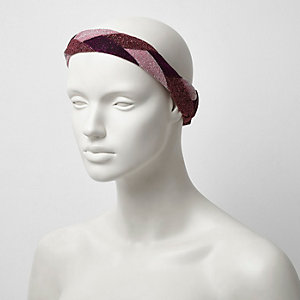 Pink metallic plaited hair band