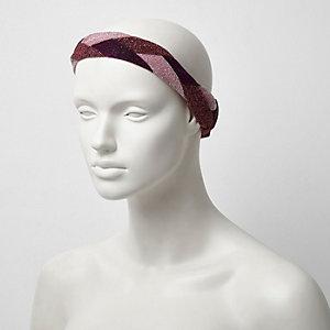 Metallic roze gevlochten haarband