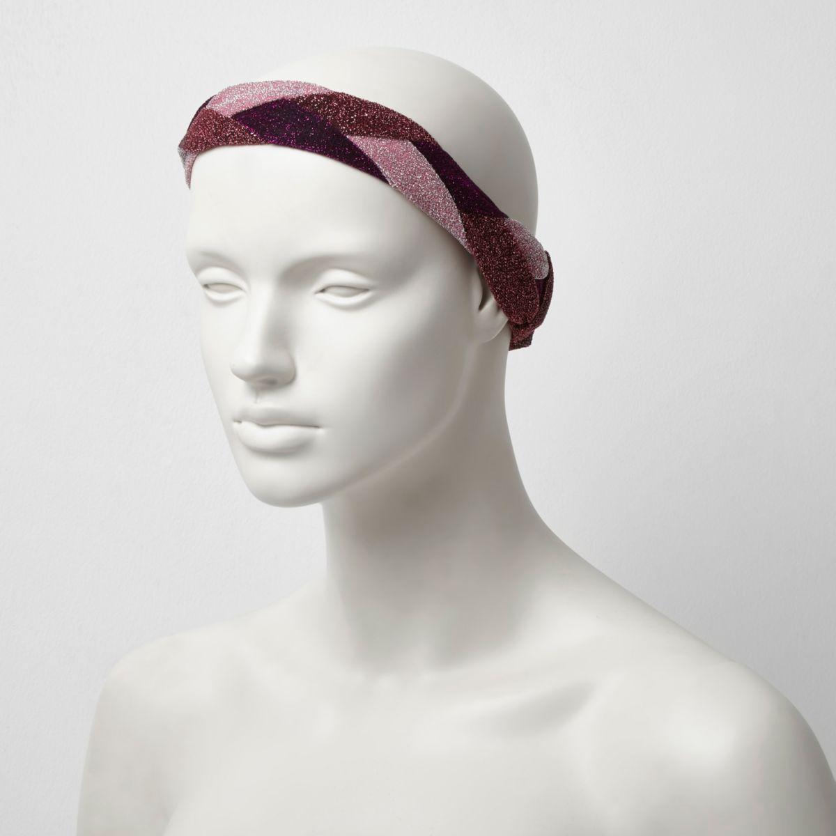 Pink metallic plaited hair band