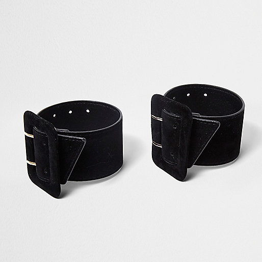 Black buckle ankle straps