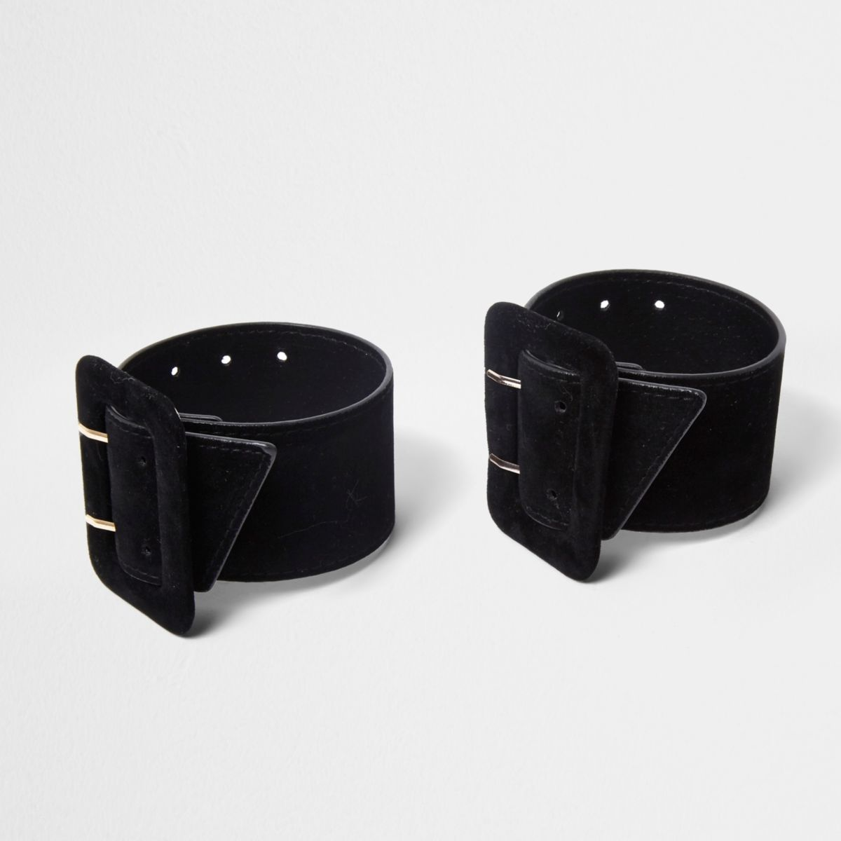 Black buckle ankle straps