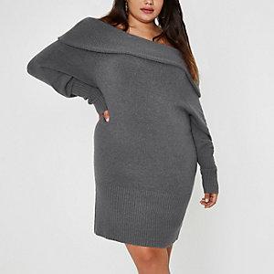 RI Plus - Donkergrijze trui-jurk in bardotstijl met overslag