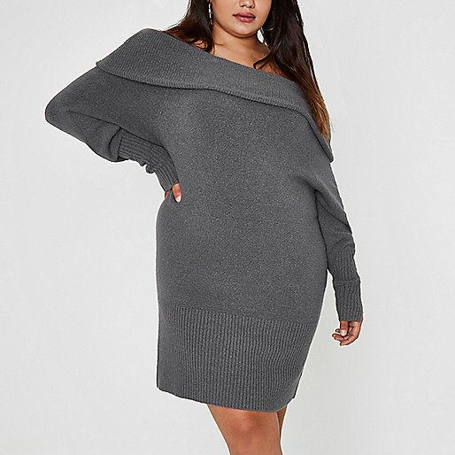 Plus dark grey foldover bardot jumper dress