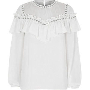 White eyelet trim frill long sleeve blouse