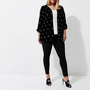 Plus black velvet faux pearl kimono