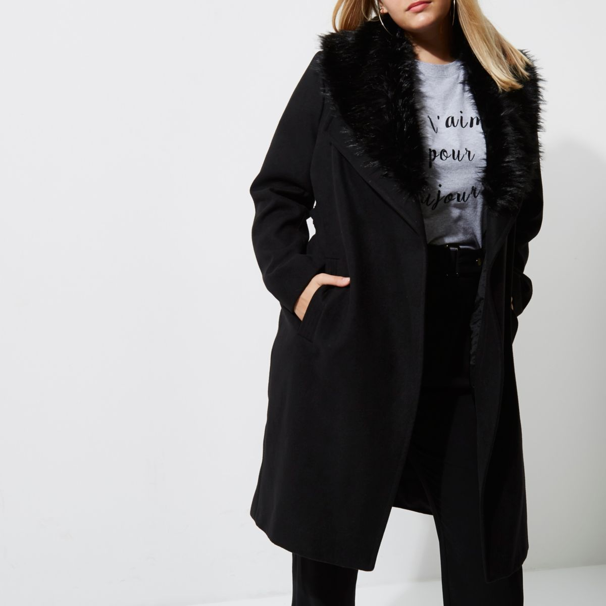 Plus black faux fur trim robe coat