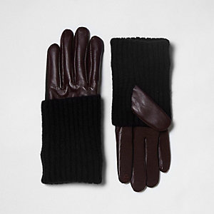 Dark red faux leather knitted panel gloves