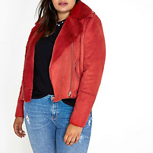 Plus red faux shearling biker jacket