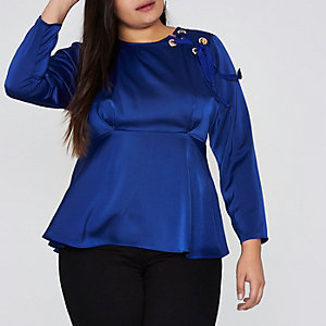 Plus blue eyelet detail satin long sleeve top