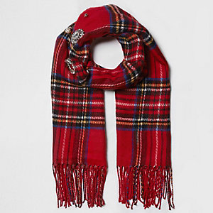 Red plaid check brooch embellished scarf