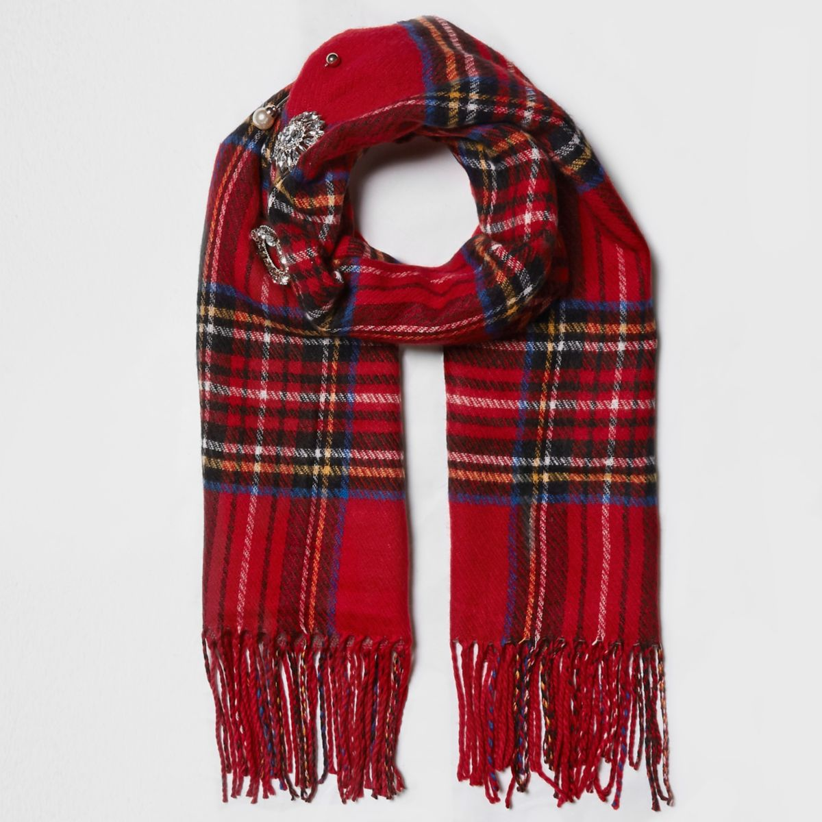Red tartan check brooch embellished scarf