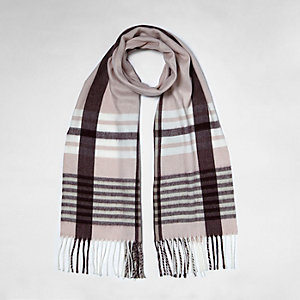 Light pink check knit scarf