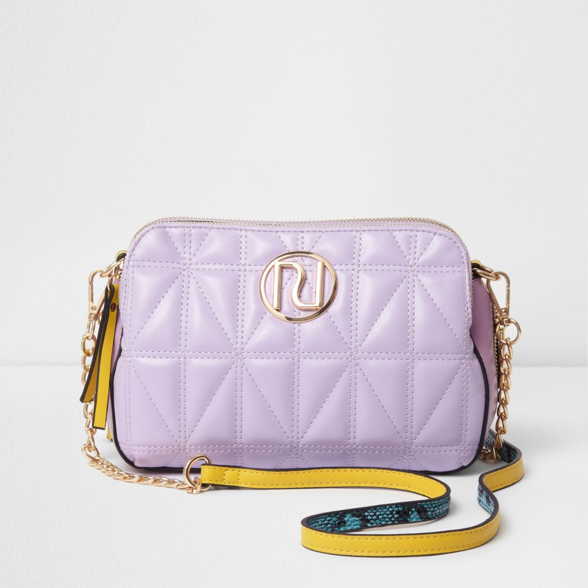 Light purple quilted snakeskin crossbody bag