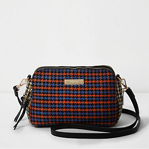 Orange dogtooth check triple compartment bag