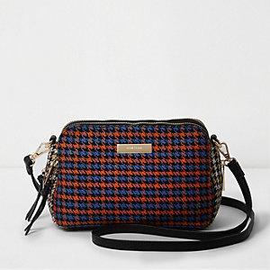Orange Tasche mit drei Fächern und Hahnentritt-Muster
