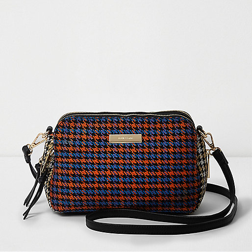 Orange houndstooth check triple compartment bag