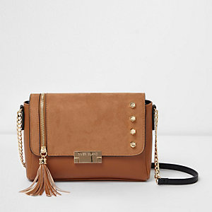 Beige studded tassel crossbody bag