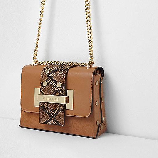 Tan snake cross body chain bag