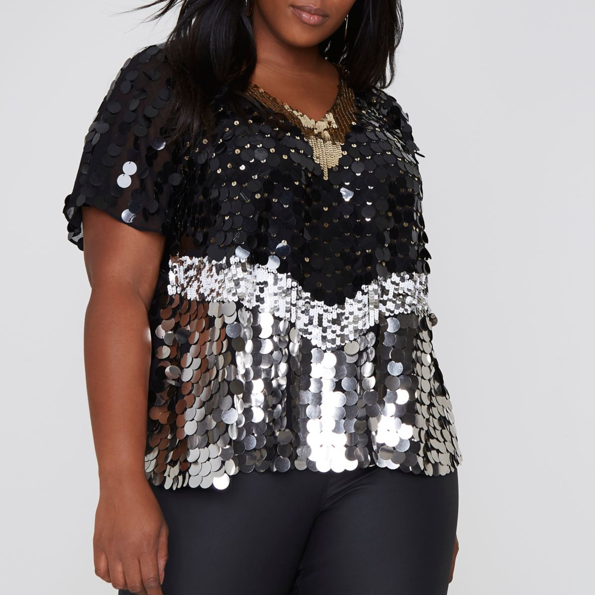 Plus black and silver sequin embellished cape