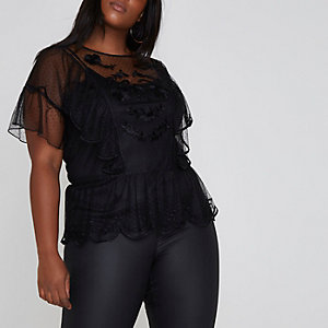 Plus black dobby mesh smock top