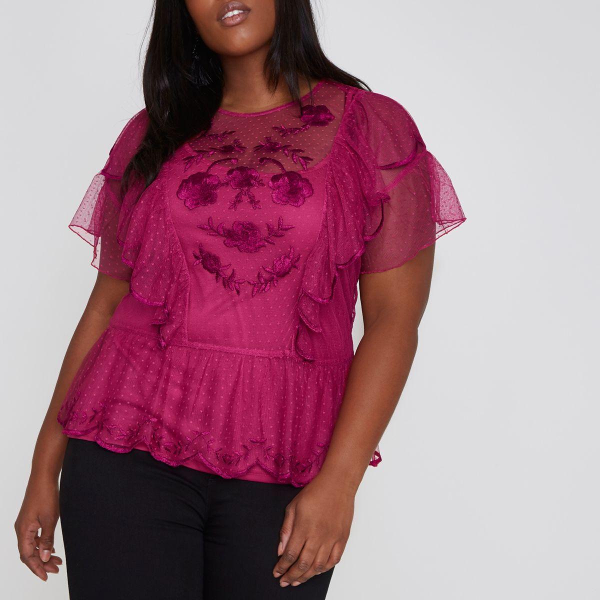 Plus pink dobby mesh smock top