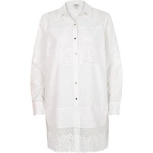 White lace panel longline shirt