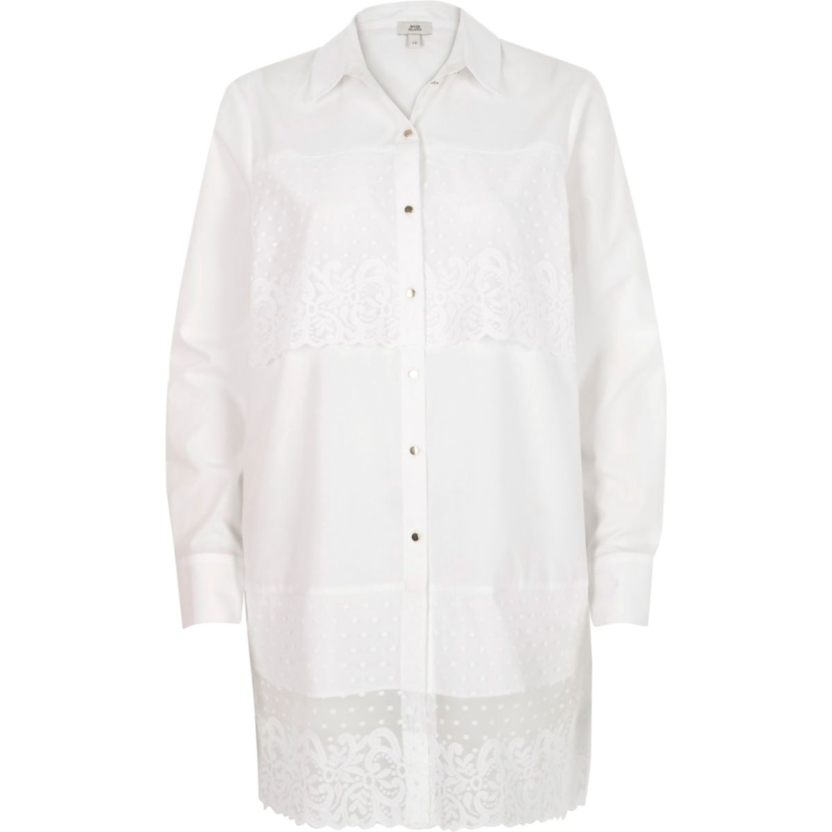 White lace panel longline shirt