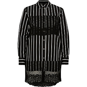 Black stripe lace panel longline shirt