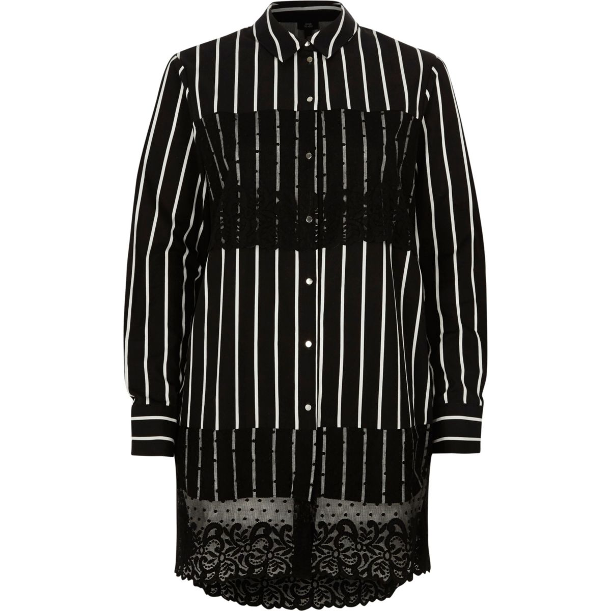 Black stripe lace panel longline shirt