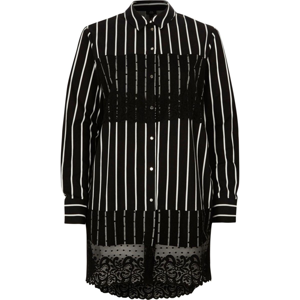 Zwart gestreept lang overhemd met paneel van kant