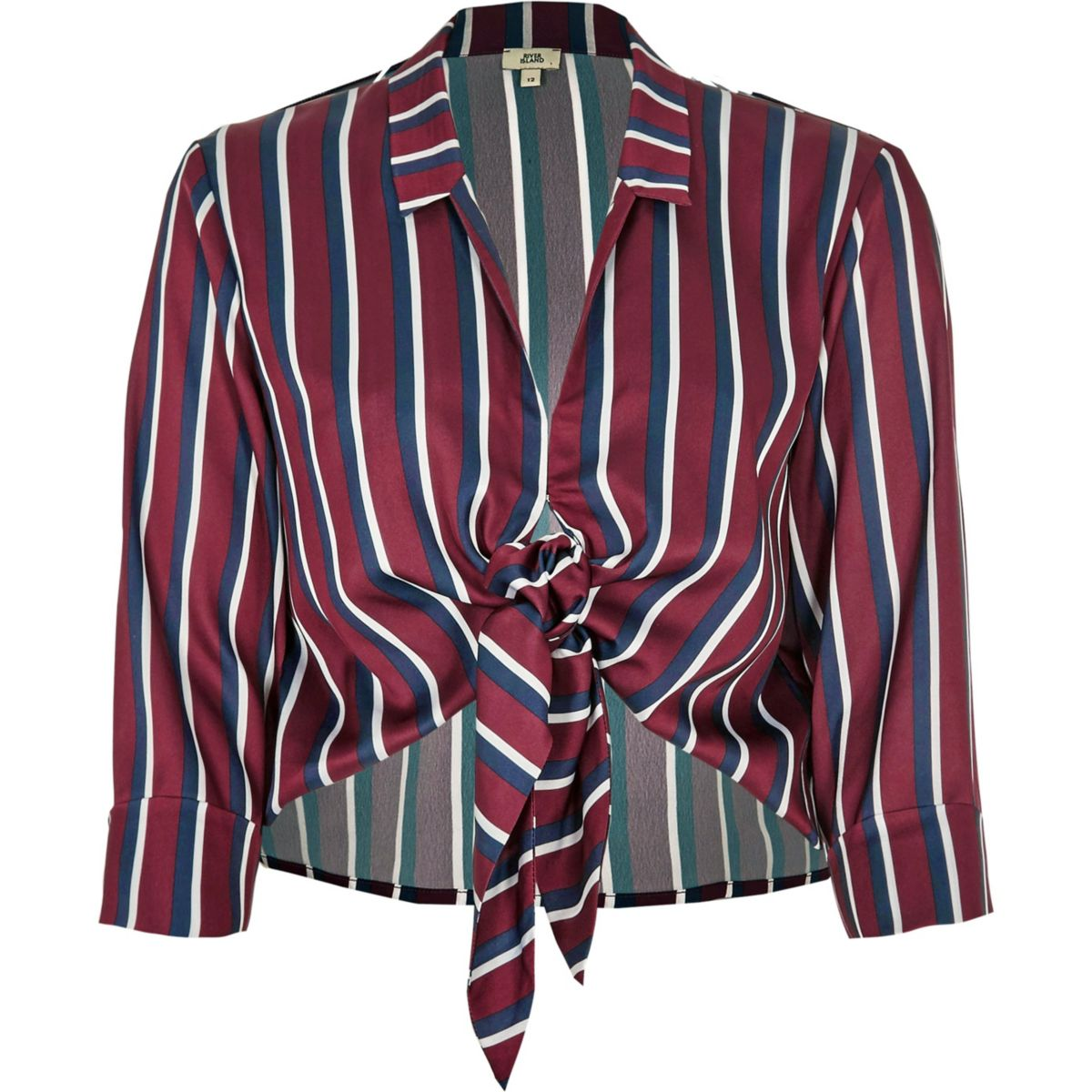 Red stripe satin tie front shirt